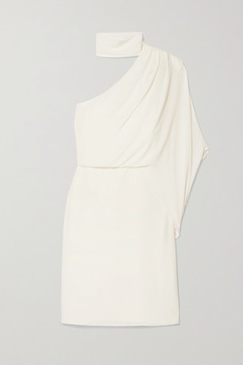 Halston One-shoulder Crepe Dress - White