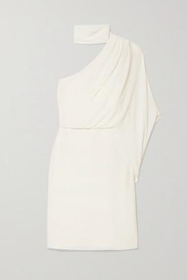 Halston One-shoulder Crepe Dress - White