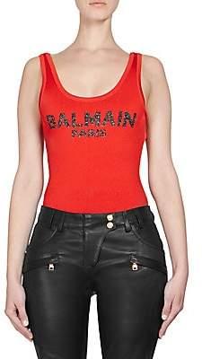 Balmain Women's Metallic Logo Bodysuit