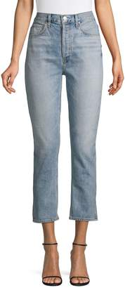A Gold E Agolde Riley High-Rise Straight-Leg Cropped Jeans