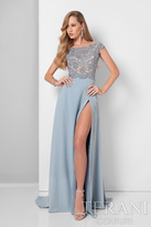 Terani Evening - Lovely Bead and Laced Bateau Neck A-line Dress 1711M3366