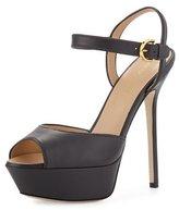 Sergio Rossi Peep-Toe Platform Leather Sandal, Dark Asphalt