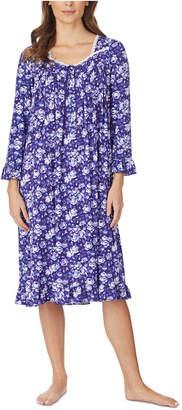 Eileen West Jersey-Knit Floral-Print Lace-Trim Waltz Nightgown