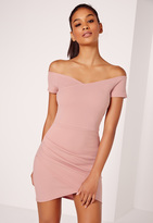 Missguided Wrap Bardot Bodycon Dress Pink