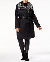 Via Spiga Plus Size Faux-Fur-Collar Walker Coat