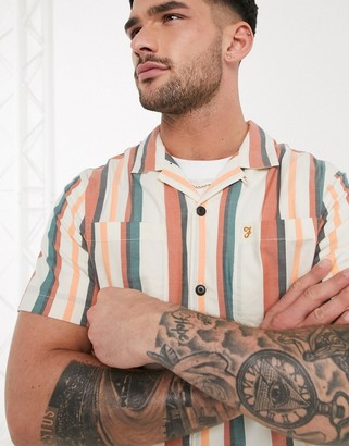 Farah Bloomfield short sleeve striped shirt in white and orange