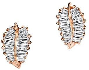 Anita Ko 18K Rose Gold & Baguette Diamond Small Palm Leaf Stud Earrings
