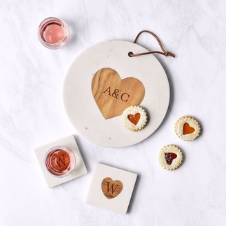 Mark And Graham Wood and Marble Circle Heart Cheese Board