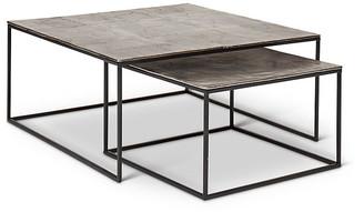 One Kings Lane Asst. of 2 Mudra Nesting Coffee Tables - Vintage Silver - frame, black; top, vintage silver