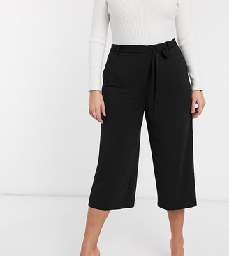 Vero Moda Curve tie waist culottes in black