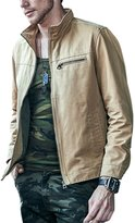 Tanming Men's Casual Solid Full Zip Cotton Jacket