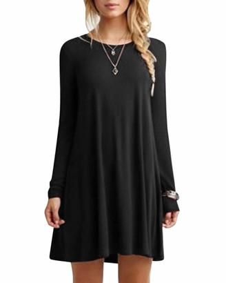 YOINS Women Mini Dresses Short Sleeve Casual Loose Tunic Round Neck Long Tshirt Mini Dress