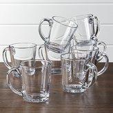 Crate & Barrel Tempo Clear Glass Coffee Mug Set of 8