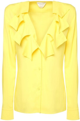 Bottega Veneta Ruffled V Neck Stretch Viscose Shirt