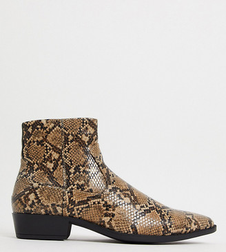 ASOS DESIGN Wide Fit stacked heel western chelsea boots in brown faux leather with snake effect