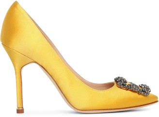 Manolo Blahnik Hangisi 105 yellow satin pumps