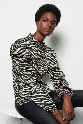 Zebra Print Ruffle Blouse