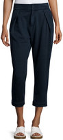 AG Jeans Rhom Pleated-Front Cropped Pants, Indigo Knit Four