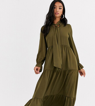 Y.A.S Nuua long sleeve tiered pussybow midi dress