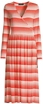 Stine Goya Alina Stripe Surplice A-Line Midi Dress