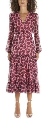 Saloni Leaf Printed V-Neck Midi Dress