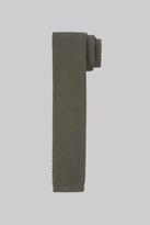 Moss Bros Khaki Knitted Skinny Tie