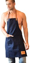 Vantoo Unisex Adjustable 100% Cotton Denim Apron with Pockets for Men and Women - Durable Leather Ties&Soft Denim Fabrics - Professional for Cooking - Indigo Blue