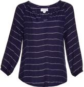 Velvet by Graham & Spencer Syd V-neck striped twill top