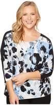 Calvin Klein Plus Plus Size Printed Dolman Top with Zipper Cuffs Women's Clothing