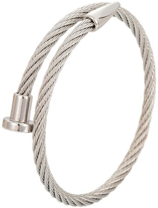 Parallel Silver Spikes Cuff Bracelet.