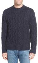 Schott NYC Regular Fit Cable Knit Crewneck Wool Blend Sweater