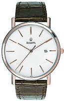 Bulova Men's Brown Leather Strap Watch