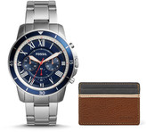 Fossil Grant Sport Chronograph Stainless Steel Watch and Wallet Box Set