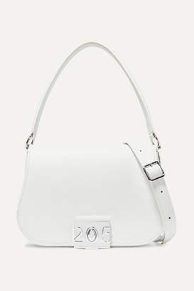 Calvin Klein Bonnie Grosgrain-trimmed Leather Shoulder Bag - White