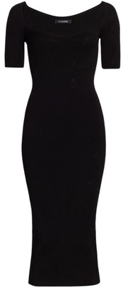 Cushnie Squareneck Floral Jacquard Knit Pencil Dress