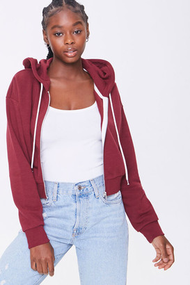 Forever 21 Basic Fleece Zip-Up Hoodie
