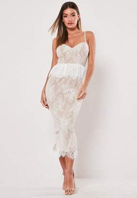 Missguided White Lace Diamante Strap Peplum Midi Dress