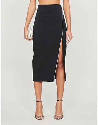 David Koma High-rise diamante-embellished crepe midi skirt