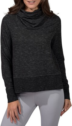 90 Degree By Reflex Terry Brushed Long Sleeve Cropped Cow Neck Top