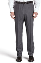 Isaia Flat-Front Trousers, Gray