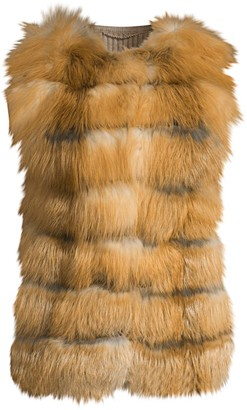 Glamour Puss Fox Fur Front & Knit Back Vest