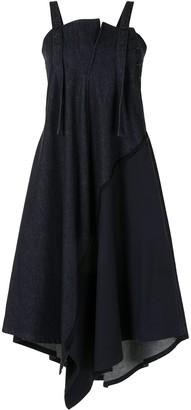 Y's Draped Denim Midi Dress