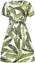 Oscar de la Renta palm leaf print belted dress