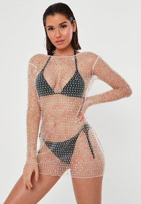 Missguided White Mesh Diamante Low Back Beach Dress