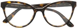 Dolce & Gabbana Eyewear Tortoiseshell-Effect Cat-Eye Glasses