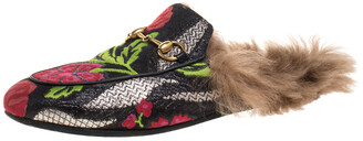 Gucci Black Floral Brocade Fabric And Fur Horsebit Princetown Mules Size 37