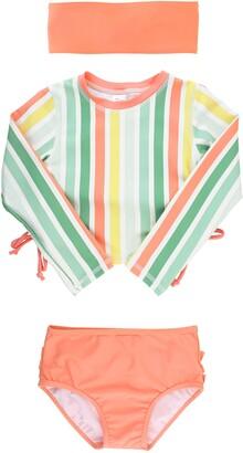RuffleButts Saltwater Stripe Two-Piece Rashguard Swimsuit & Head Wrap Set