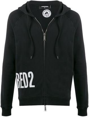 DSQUARED2 Logo Print Zipped Hoodie