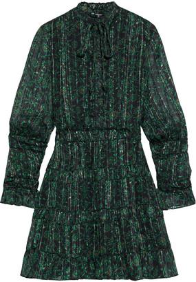 Walter Baker Tezza Gathered Floral-print Metallic Chiffon Mini Dress