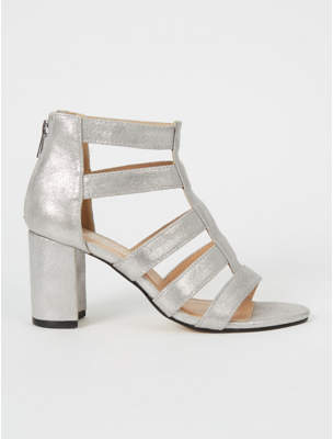 99f24820e1f61 George Silver Caged Strappy Block Heeled Sandals